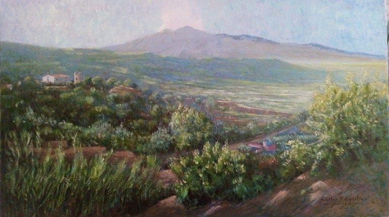 Carlos D'Agostino, expone sus pinturas en Catania, Sicilia